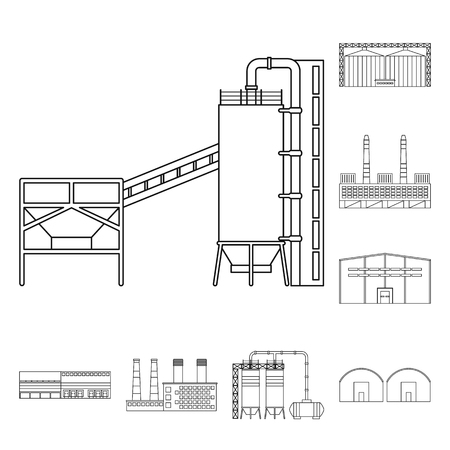 Vector illustration of manufacturing and company icon. Collection of manufacturing and structure stock vector illustration. Stock Illustratie