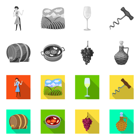 Vector illustration of farm and vineyard icon. Set of farm and product vector icon for stock.