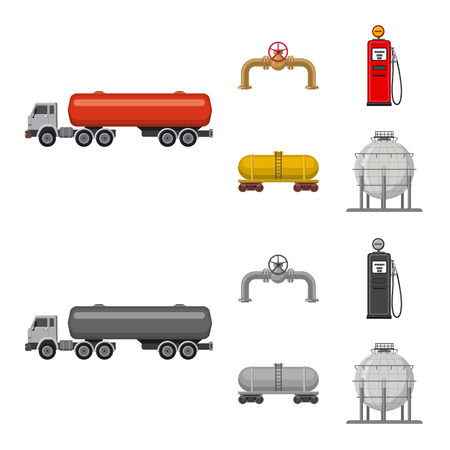 Vector illustration of oil and gas logo. Set of oil and petrol stock symbol for web. Illustration