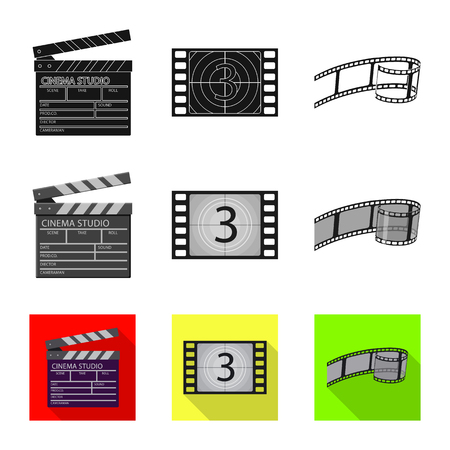 Isolated object of television and filming symbol. Collection of television and viewing vector icon for stock.
