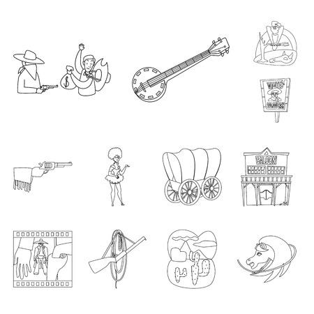 Ilustración de vector de icono occidental y americano. Colección de icono de vector occidental y agrícola para stock. Ilustración de vector