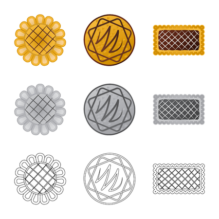 Vector design of biscuit and bake icon. Collection of biscuit and chocolate stock vector illustration. Иллюстрация