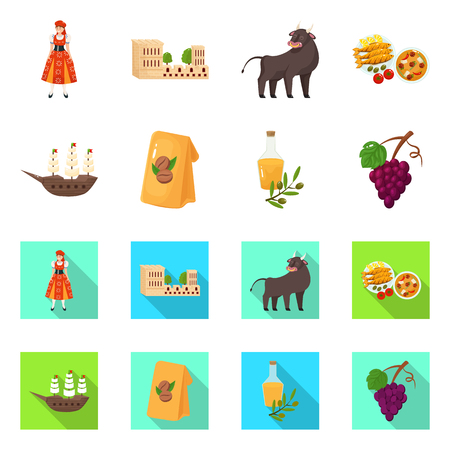 Isolated object of  and historic icon. Collection of  and country stock vector illustration. Illustration