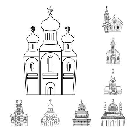 Isolated object of architecture and faith sign. Set of architecture and temple stock vector illustration.