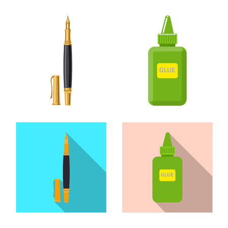 Vector illustration of office and supply symbol. Collection of office and school vector icon for stock. Illustration