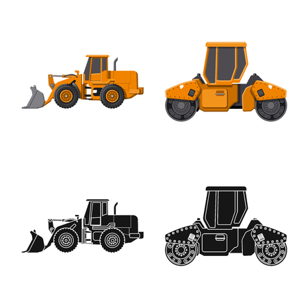 Vector illustration of build and construction icon. Set of build and machinery vector icon for stock. Illustration