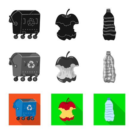 Vector illustration of dump and sort icon. Set of dump and junk stock vector illustration.