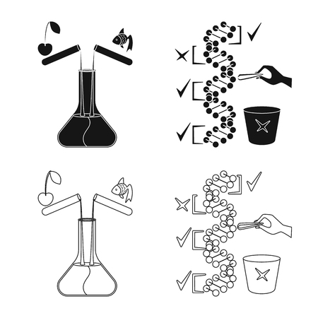 Vector illustration of test and synthetic symbol. Collection of test and laboratory stock vector illustration. Illustration