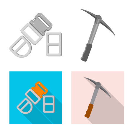 Isolated object of mountaineering and peak symbol. Set of mountaineering and camp stock symbol for web. Illustration