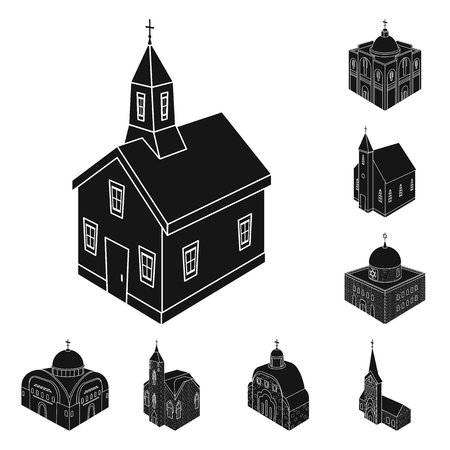 Vector illustration of parish and faith icon. Set of parish and building stock vector illustration. Çizim