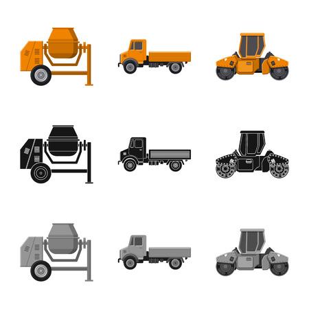 Vektor-Illustration der Bau- und Bauikone. Sammlung von Build- und Maschinenvektorsymbolen für Lager. Vektorgrafik