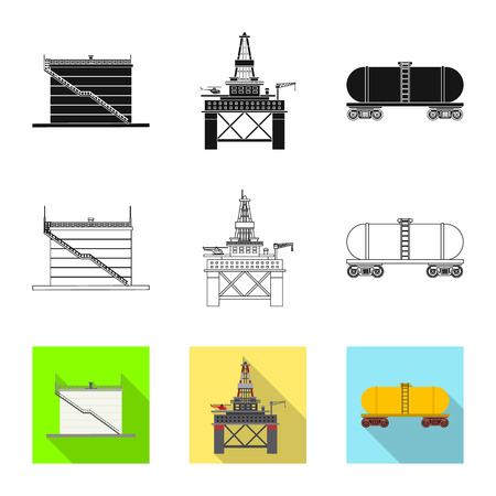 Isolated object of oil and gas icon. Collection of oil and petrol vector icon for stock.