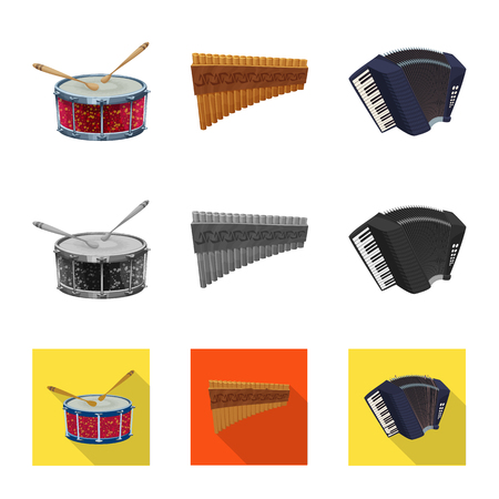 Isolated object of music and tune logo. Collection of music and tool stock vector illustration.  イラスト・ベクター素材