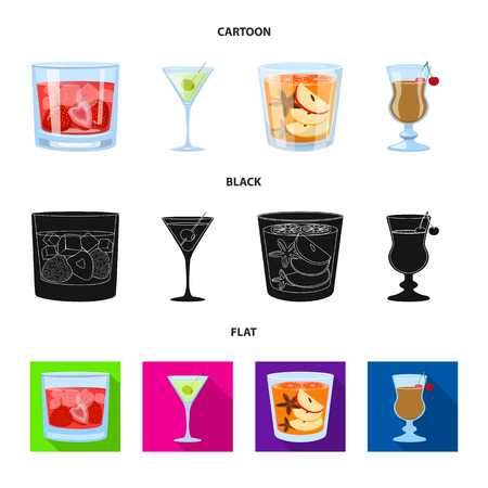 Vector design of liquor and restaurant symbol. Set of liquor and ingredient stock vector illustration.