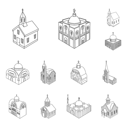 Vector illustration of architecture and building logo. Set of architecture and clergy stock symbol for web.