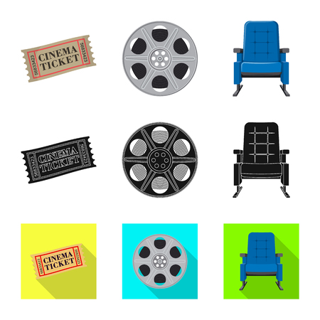 Vector illustration of television and filming sign. Set of television and viewing vector icon for stock. Illustration