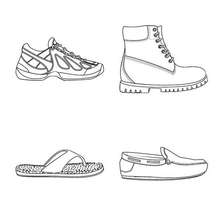 Ilustracja wektorowa logo butów i obuwia. Zestaw butów i stóp wektor ikona na magazynie.