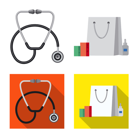 Vector design of pharmacy and hospital icon. Set of pharmacy and business stock symbol for web. Vector Illustration