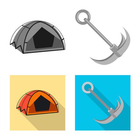 Vector design of mountaineering and peak icon. Set of mountaineering and camp stock vector illustration. 矢量图像