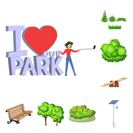 Vector design of landscape and park logo. Collection of landscape and nature stock vector illustration.