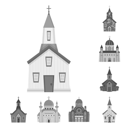 Vector illustration of architecture and faith sign. Set of architecture and traditional stock vector illustration. Illustration