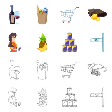 Isolated object of food and drink sign. Set of food and store vector icon for stock.