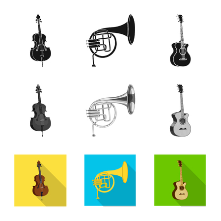 Isolated object of music and tune logo. Set of music and tool vector icon for stock. Illustration