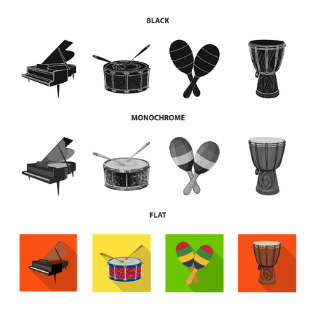 Vector design of music and tune symbol. Set of music and tool vector icon for stock.  イラスト・ベクター素材