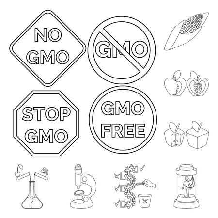 Isolated object of genetic and science symbol. Set of genetic and organic vector icon for stock.