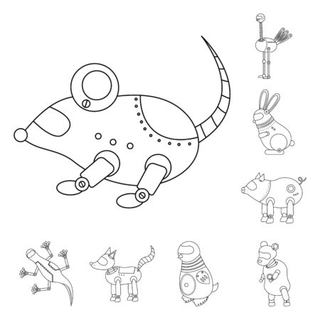 Vector design of toy and automation sign. Collection of toy and science stock symbol for web. Ilustração