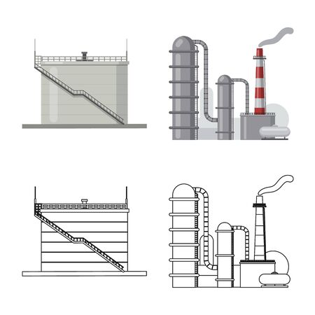 Vector illustration of oil and gas sign. Collection of oil and petrol vector icon for stock. Vektorové ilustrace