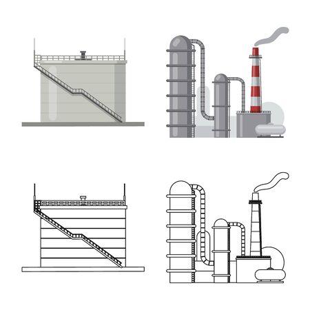 Vektorillustration des Öl- und Gaszeichens. Sammlung von Öl- und Benzinvektorikone für Lager. Vektorgrafik