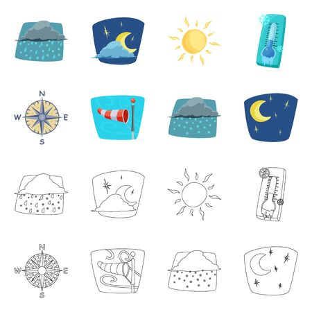 Isolated object of weather and climate icon. Set of weather and cloud stock vector illustration.