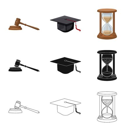Oggetto isolato dell'icona di legge e avvocato. Raccolta di legge e giustizia stock illustrazione vettoriale.