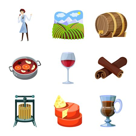 Isolated object of grape and winery symbol. Set of grape and manufacturing vector icon for stock.  イラスト・ベクター素材