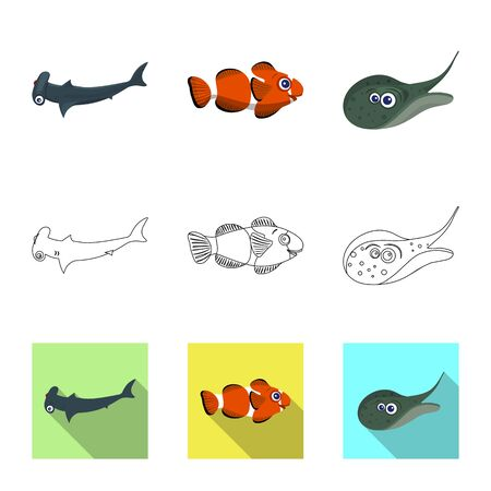 Vector illustration of sea and animal icon. Set of sea and marine stock vector illustration. Vectores