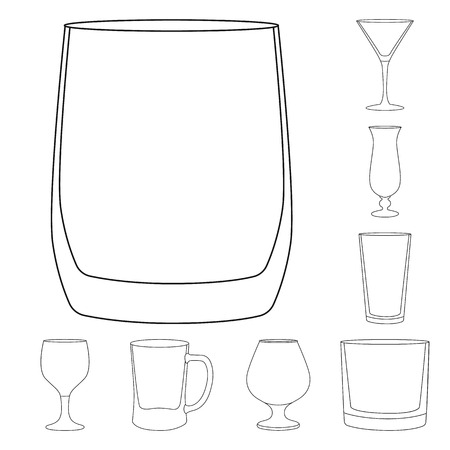 Vector design of dishes and container logo. Set of dishes and glassware stock symbol for web.
