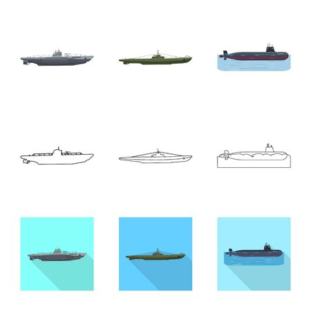 Vector design of war  and ship sign. Collection of war  and fleet stock symbol for web. Illustration