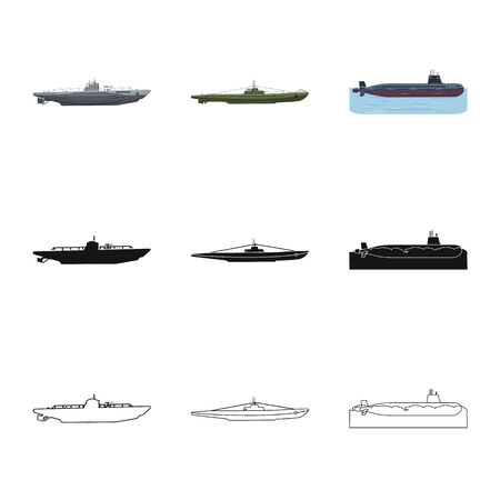 Vector design of war  and ship icon. Collection of war  and fleet vector icon for stock. Illustration