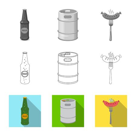 Vector design of pub and bar logo. Set of pub and interior stock symbol for web.