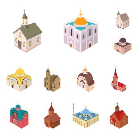 Isolated object of architecture and building logo. Collection of architecture and clergy vector icon for stock.