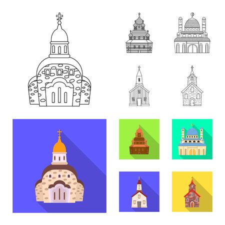 Vector design of cult and temple sign. Collection of cult and parish stock vector illustration.