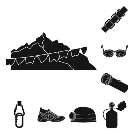 Vector illustration of mountaineering and peak sign. Collection of mountaineering and camp stock vector illustration.