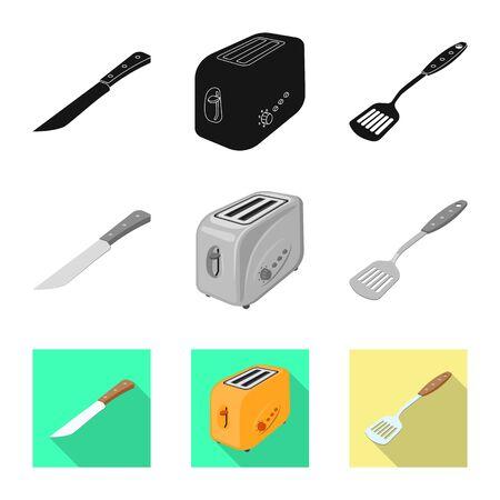 Vektorillustration des Küchen- und Kochlogos. Satz Küchen- und Gerätevorrat-Vektorillustration.