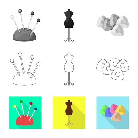 Vector design of craft and handcraft icon. Set of craft and industry stock vector illustration. Çizim