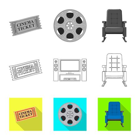 Isolated object of television and filming symbol. Collection of television and viewing stock symbol for web. Illustration