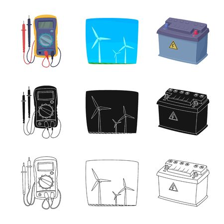Isolated object of electricity and electric logo. Set of electricity and energy stock vector illustration.