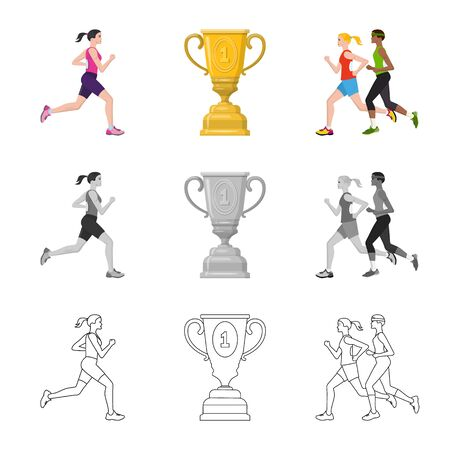 Vector design of sport  and winner logo. Collection of sport  and fitness  stock vector illustration.