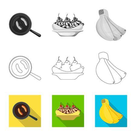 Vector illustration of natural and vegetarian icon. Set of natural and eating stock vector illustration.