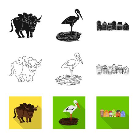 Vector design of traditional and tour icon. Set of traditional and landmarks vector icon for stock.